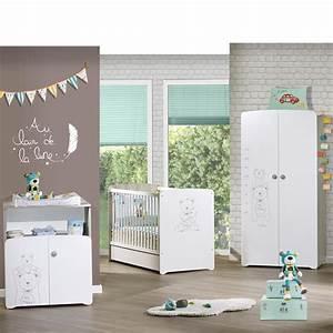 Chambre bébé trio teddy lit 60x120cm + commode + armoire de Baby price sur allobébé