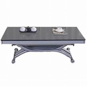 Table Basse Relevable Zen Plateau En Verre Gris Achat
