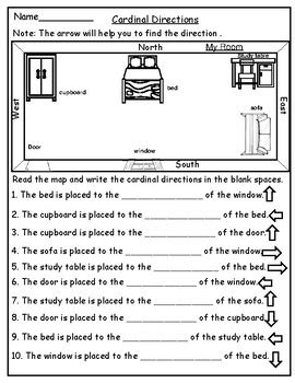 geography map skill cardinal directions worksheets