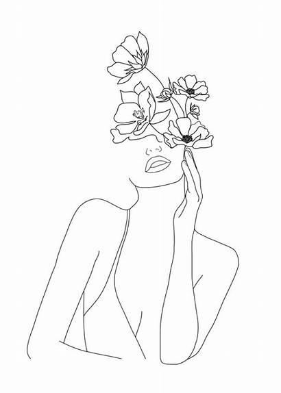 Line Woman Minimal Drawings Female Flowers Nadja