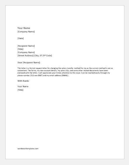 request letter  change salary transfer method  bank