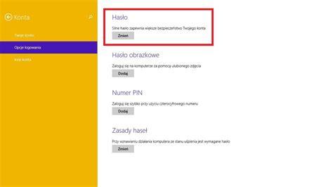jak zmienić hasło logowania w windows 8