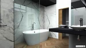 dimension h salle de bains avec habillage mural en marbre With salle de bain design avec evier en marbre