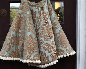 christmas tree skirt gold and blue damask with over sized