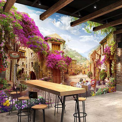 custom  mural wallpaper european town pastoral city