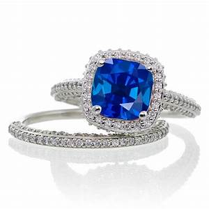25 carat cushion cut designer sapphire and diamond halo With sapphire engagement ring and wedding band set