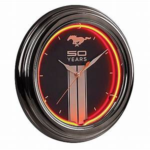 Buy Ford Mustang Fifty Year Neon Clock in Black Red from