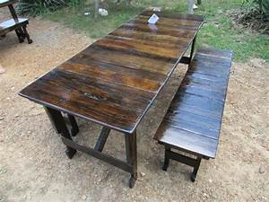 save ready to ship table bench set reclaimed wood With barn wood patio table
