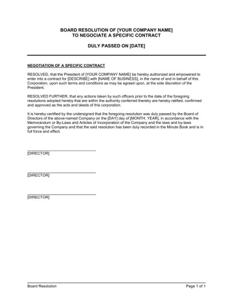 contract negotiation template board resolution to negotiate a specific contract template sle form biztree