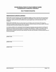 Board resolution to negotiate a specific contract for Negotiation contract template