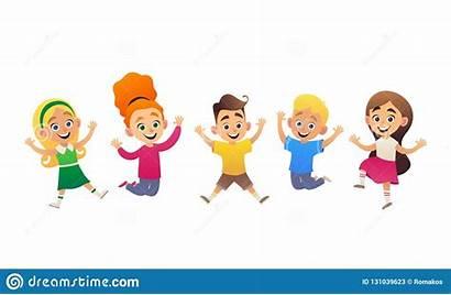 Cartoon Children Fun Having Jumping Che Funny