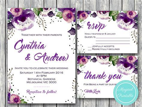 purple flowers wedding engagement party invitation rsvp