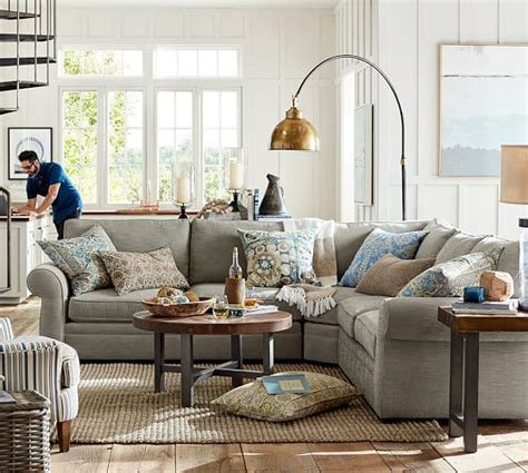 pottery barn sectional pearce upholstered 3 l shaped sectional with wedge