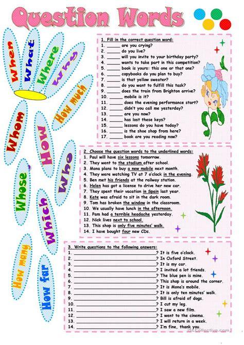 question words worksheet free esl printable worksheets