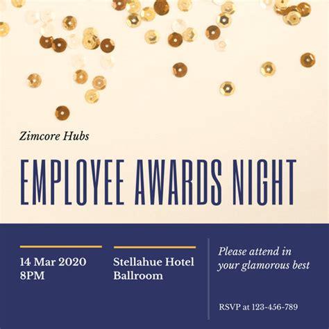 blue  gold sequins awards night invitation templates