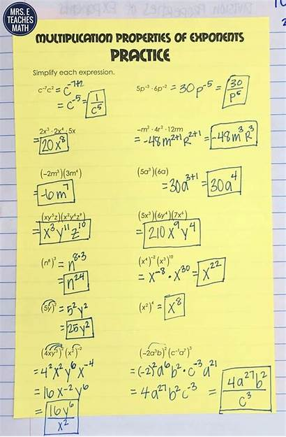 Exponents Properties Foldable Multiplication Practice Math Examples
