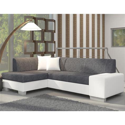 canapé angle convertible blanc canapé d 39 angle avec lit d 39 appoint gris et blanc en tissu et pu