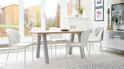 Contemporary 6 Seater Oak And Matt Grey Dining Table