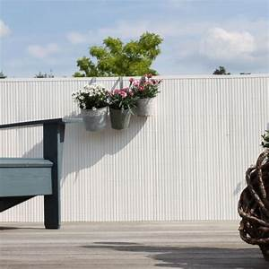 sichtschutzmatte pvc kunststoff rugen weiss sichtschutz With französischer balkon mit gartenzaun 120 cm hoch