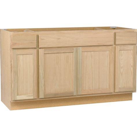 oak kitchen cabinets home depot assembled 60x34 5x24 in sink base kitchen cabinet in