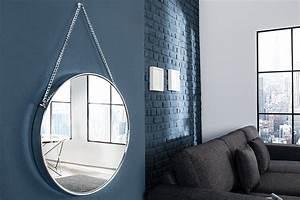 Großer Spiegel Silber : gro er runder design spiegel portrait 45cm silber mit kettenaufh ngung chrom finish riess ~ Indierocktalk.com Haus und Dekorationen