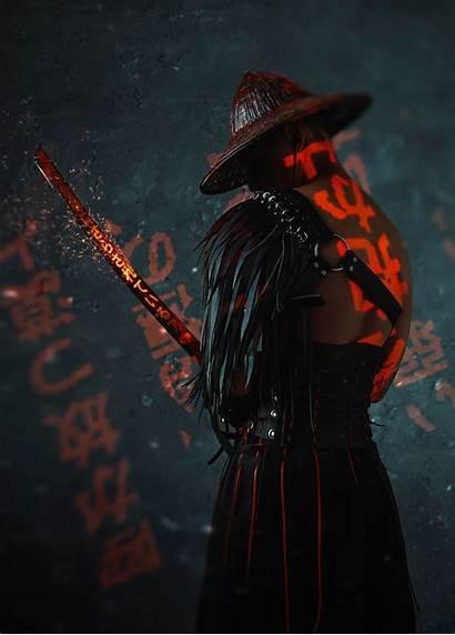 Samurai Neon Anime Ninja Cyber Wallpapers Cyberpunk