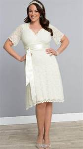 Plus size wedding dresses short pluslookeu collection for Plus size short wedding dresses with sleeves