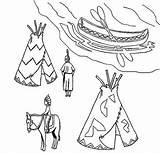 Native Coloring Village Ojibwe Canoe Teepee Sketch Kidsplaycolor Netart sketch template