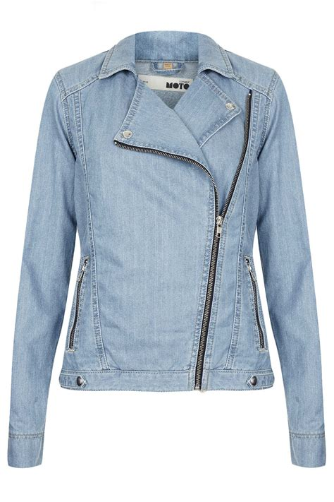 moto biker jacket topshop moto blue denim biker jacket in blue lyst