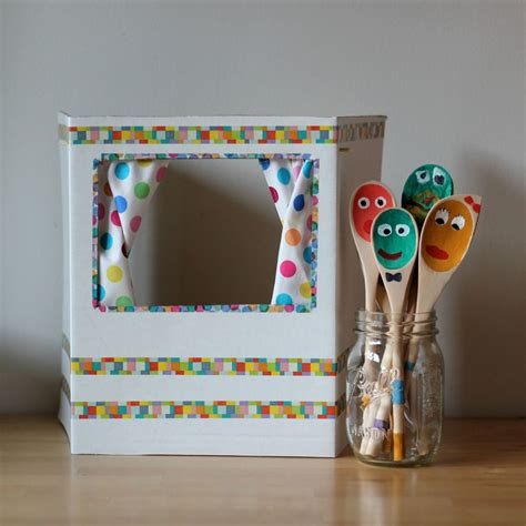 diy puppet theater  wooden spoon puppets