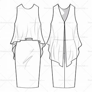 women39s flowy dress fashion flat template illustrator stuff With clothing templates for illustrator