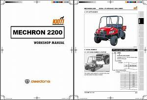 Kioti Mechron 2200 Utv Repair Service Workshop Manual Cd
