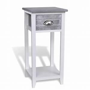 Nachttisch Mit Schublade : nachttisch telefontisch mit 1 schublade grau wei g nstig kaufen ~ Indierocktalk.com Haus und Dekorationen