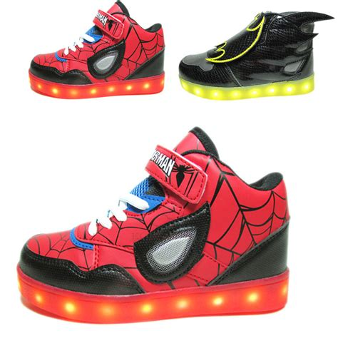 kids sneakers with lights kids usb charging led light shoes boys girls batman