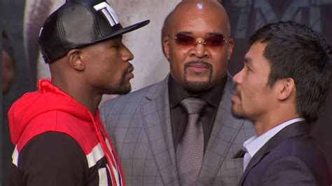 floyd mayweather  manny pacquiao stare   broke