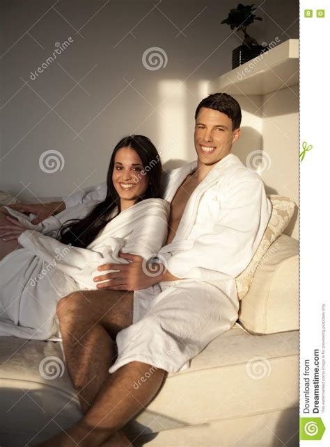 young couple   morning stock image image  robe