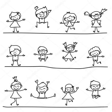 immagini di bambini felici mano disegno bambini felici dei cartoni animati