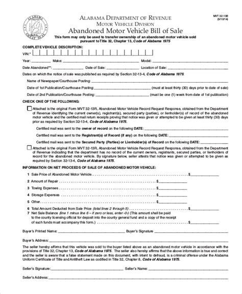 motor vehicle bill  sale   word  documents