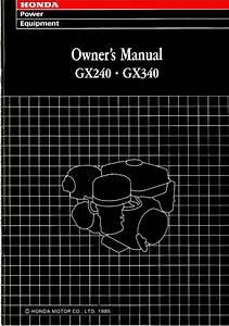 Honda Gx240 Gx270 Gasoline Fueled Gx340 Engine Owners Manual