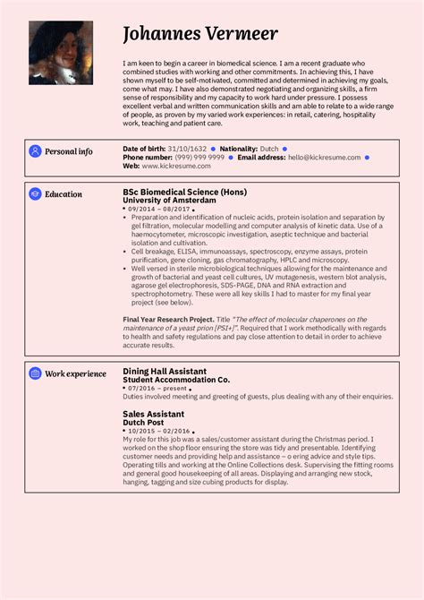 resume examples  real people student resume biomedicine