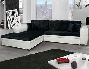 Canapé Angle Convertible Beige : canap d 39 angle convertible noir et blanc ~ Teatrodelosmanantiales.com Idées de Décoration