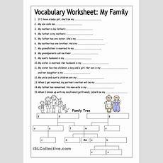 Vocabulary Worksheet  My Family (medium)  English 6th Grade  Pinterest  Best Vocabulary