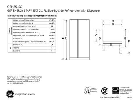 ge gshjscss dimensions  installation information   manualslib