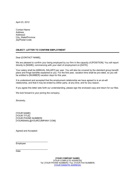 letter confirming employment template sle form
