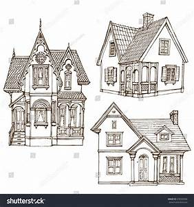 Victorian Cute Little Houses Set Outline Stock Vector ...