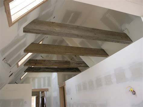 cathedral ceiling recessed lighting photo 8829 weathered beams timbers guest loft in