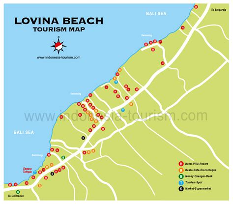 lovina beach bali map bali island indonesia tourism maps