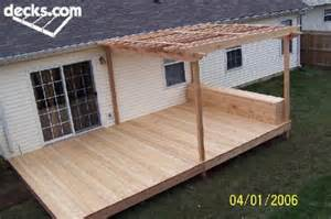 Simple Timber Deck Plans Ideas Photo by Simple Deck With Half Covered In Pergola Plus Box