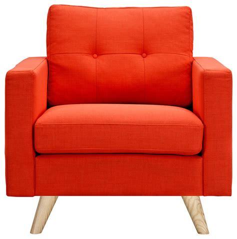 retro orange armchair wood color midcentury
