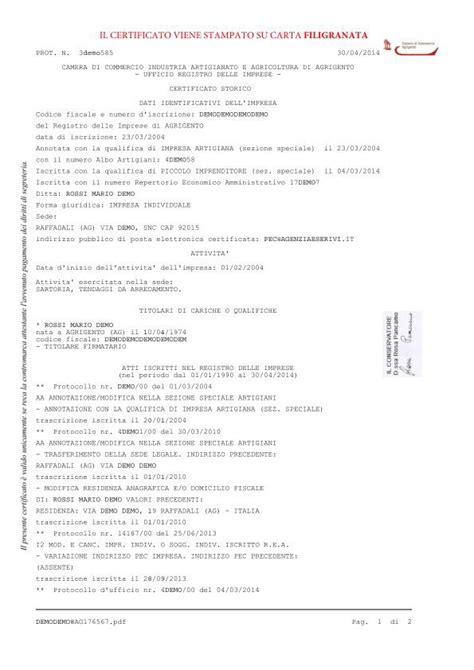 certificato camerale storico    minuti